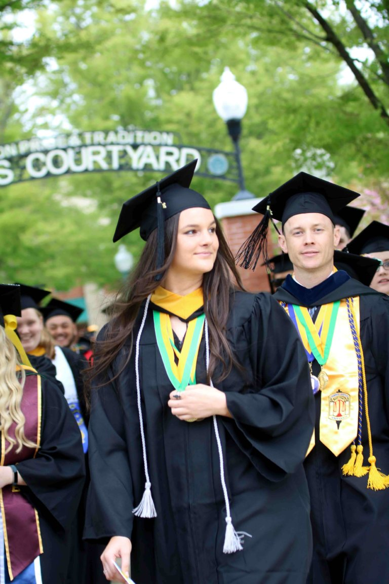 graduates in hayes courtyard